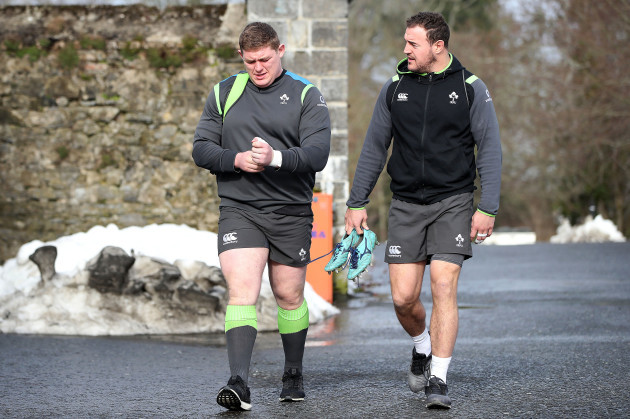 Tadhg Furlong and Rob Herring arrive for training