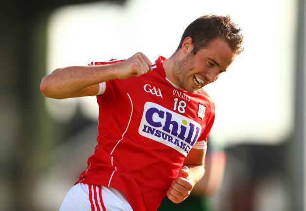 Colm O'Neill celebrates scoring a point