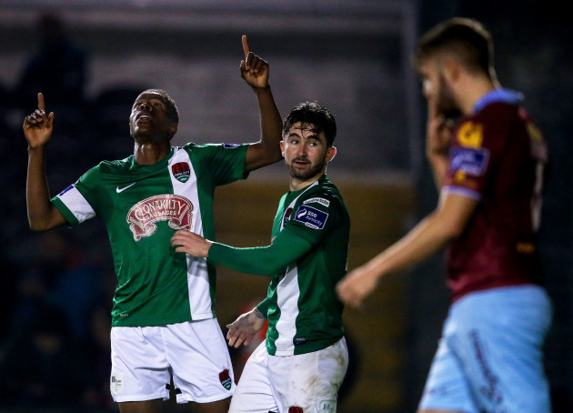 Chiedozie Ogbene celebrates scoring a goal with Sean Maguire