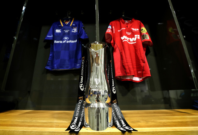 A view of the Guinness Pro14 trophy in the dressing room with the Leinster and Scarlets jerseys