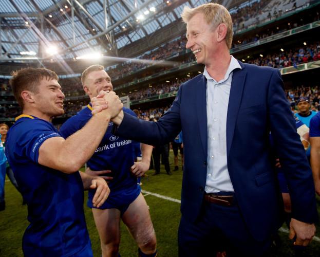 Luke McGrath and head coach Leo Cullen celebrates