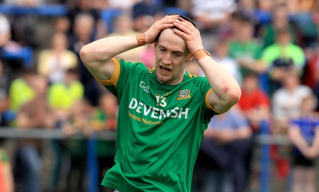 Donal Keogan reacts to missing a goal chance