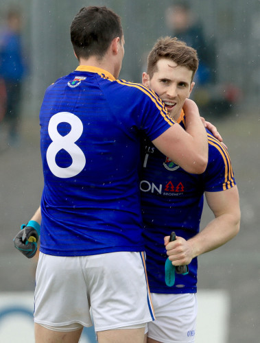Darren Gallagher celebrates with Liam Connerton at the final whistle