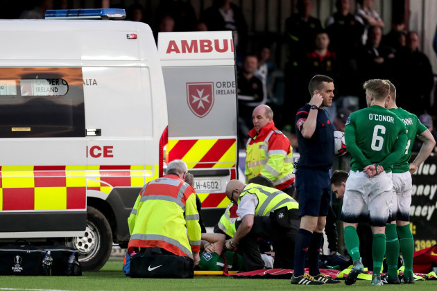 Andrew McGovern receives medical attention