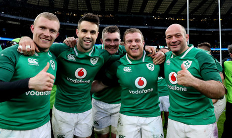 Ireland's  Keith Earls Conor Murray Peter O'Mahony Sean Cronin and Rory Best after the match