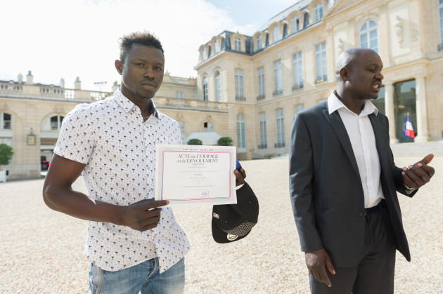 President Macron Receives Mamoudou Gassama - Paris