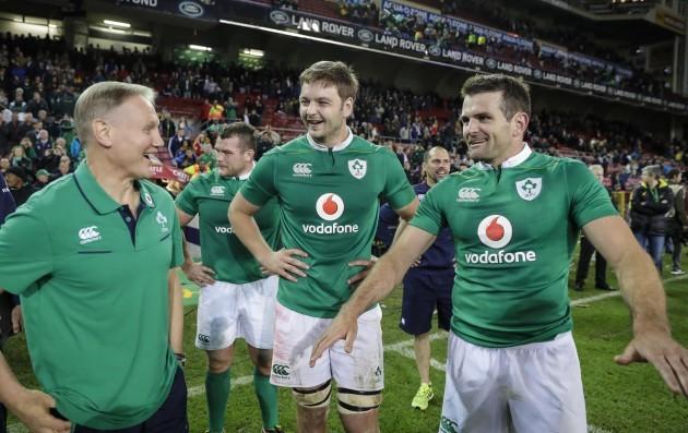 Ireland's head coach Joe Schmidt Iain Henderson and Jared Payne