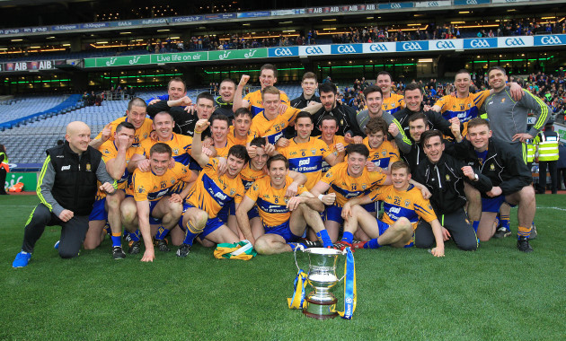 The Clare team celebrate winning