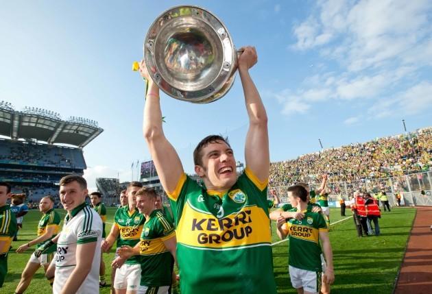 Kerry's David Moran lifts the Sam Maguire