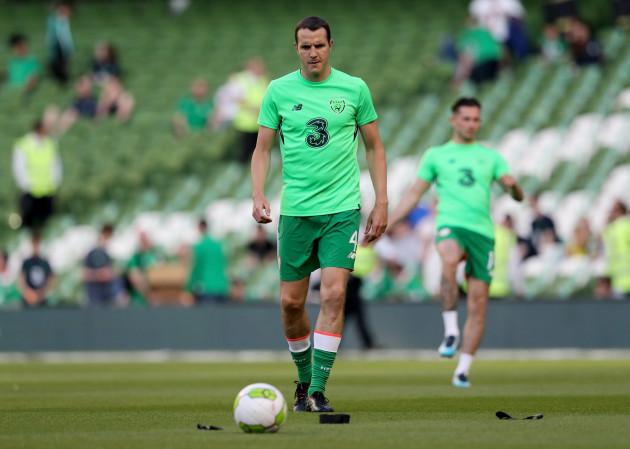 John O'Shea during the warm up