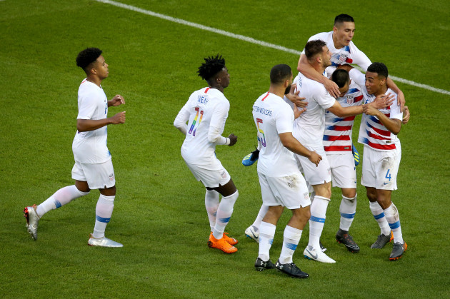 Bobby Wood celebrates his goal with teammates