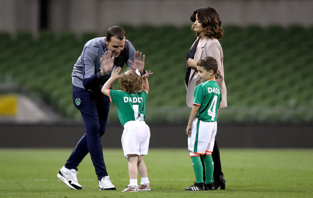 John O'Shea with his wife Yvonne Manning, daughter Ruby and son Alfie