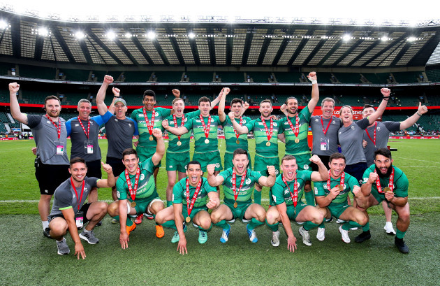 Ireland celebrate a third place finish after beating England