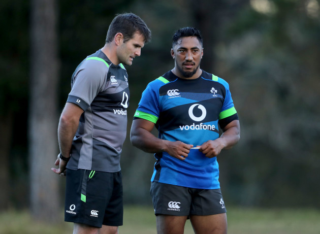 Jared Payne and Bundee Aki during training