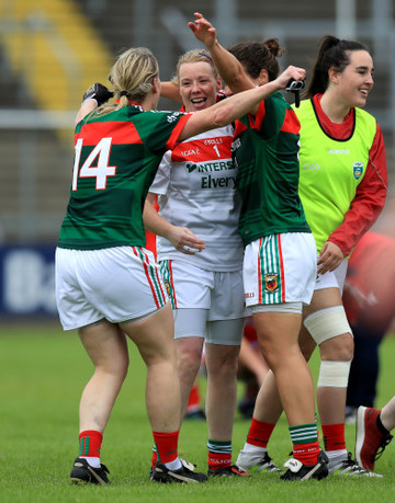 Mayo's Cora Staunton, Yvonne Byrne and Martha Carter celebrate at the end of the game