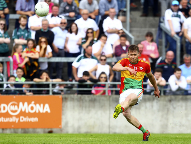 Carlow's Paul Broderick scores a free