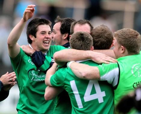 John Riordan celebrates with teammates at the final whistle