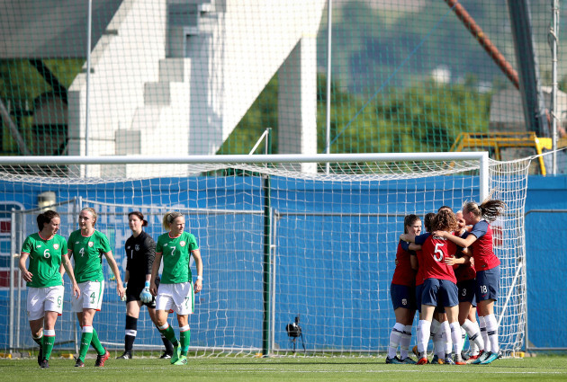 Norway celebrate scoring the first goal