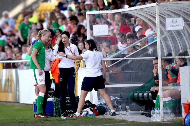 Louise Quinn goes off injured