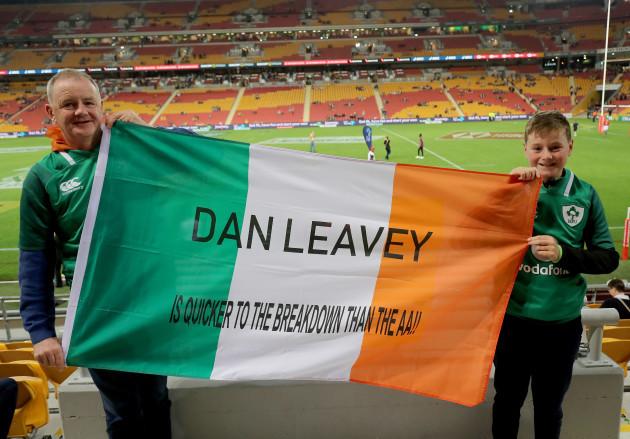 Ireland fans Paddy Joe Moran and Patrick Moran before the game