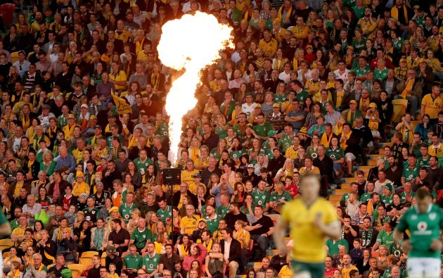 A view of the pyrotechnics before the game