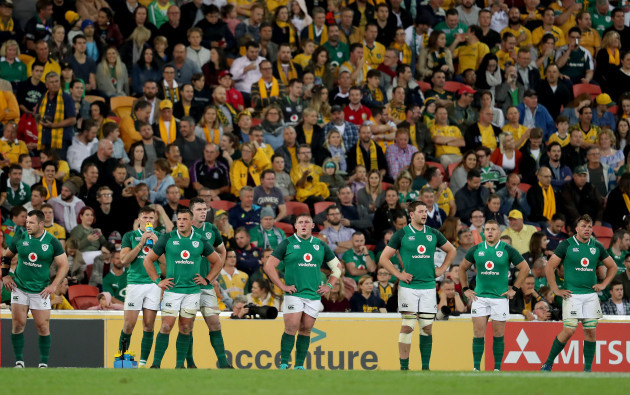The Ireland players after conceding a try that was later disallowed