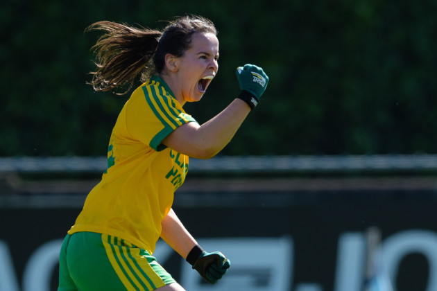 Geraldine McLaughlin celebrates scoring a goal