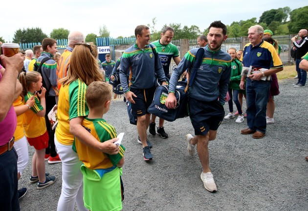 Mark McHugh and the Donegal players arrive