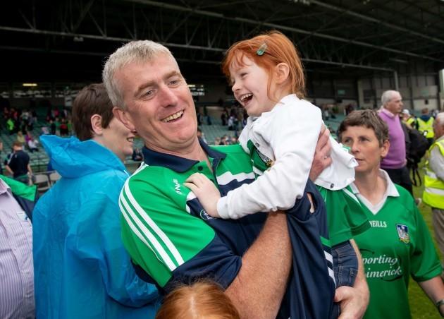 John Kiely celebrates with his daughter Aoife