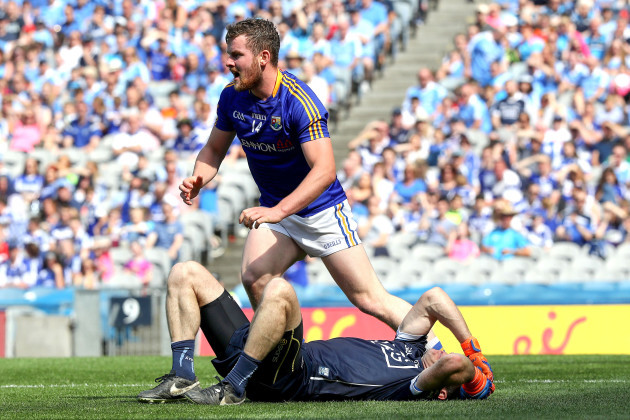 Stephen Cluxton is fouled by James McGivney
