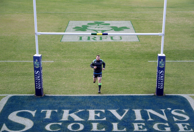 A view of Cian Healy during training