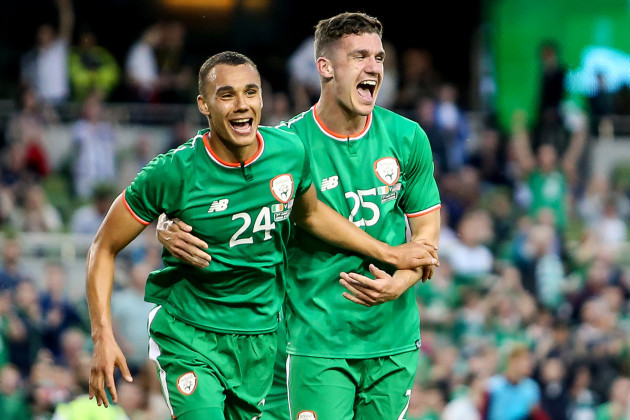 Graham Burke celebrates his goal with Darragh Lennihan