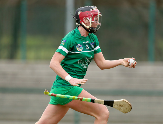 Sarah Carey loses her hurley as she scores a goal