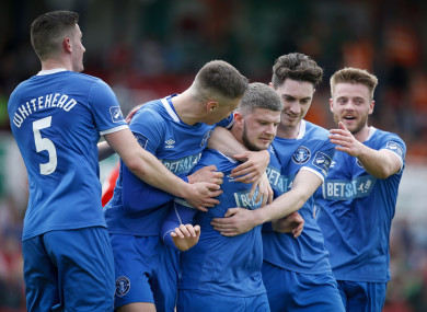 danny-morrissey-celebrates-scoring-a-goal-with-billy-dennehy-tony-whitehead-and-cian-coleman-390x285