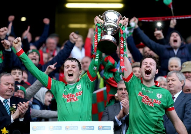 Gearóid Cunniffe and Darragh Donnelly lift the trophy