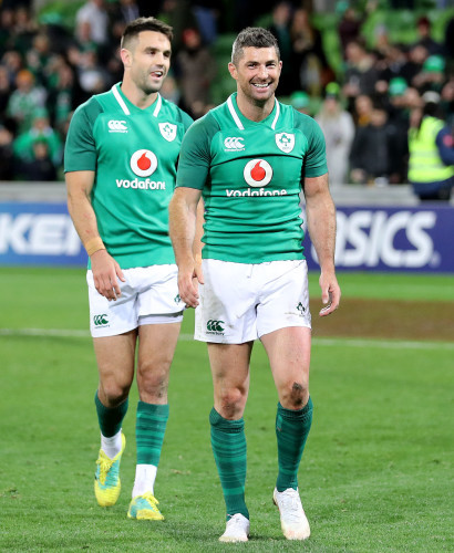 Rob Kearney and Conor Murray celebrate after the game