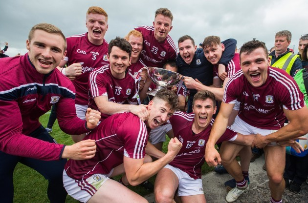 Galway celebrate after the game with the trophy