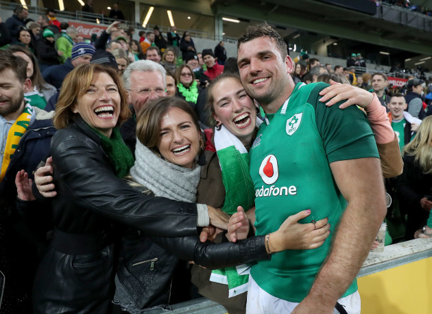 Tadhg Beirne celebrates with mother Brenda, father Gerry and sisters Jennifer, Alannah and Caoimhe