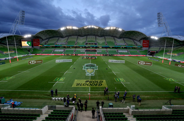 A view of AAMI Park ahead of the game
