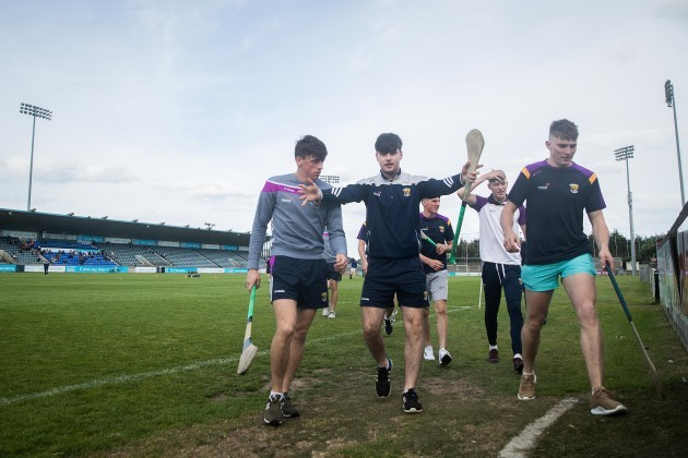 Wexford players return to the dressing room