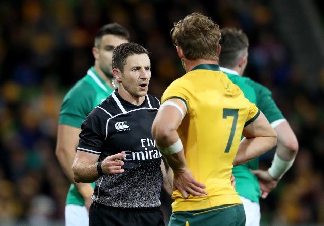 Michael Hooper with Referee Paul Williams