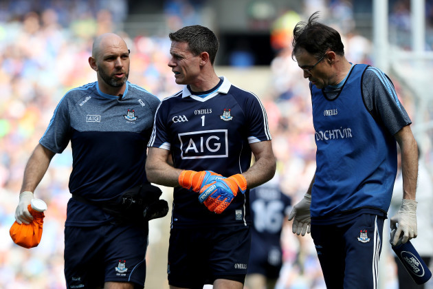 Stephen Cluxton leaves the pitch injured
