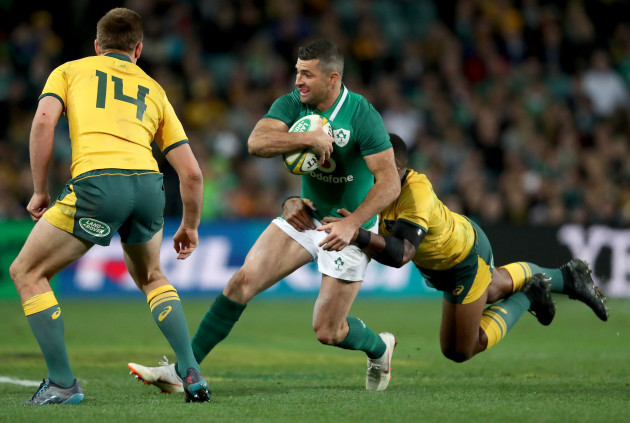 Rob Kearney with Samu Kerevi and Dane Haylett-Petty