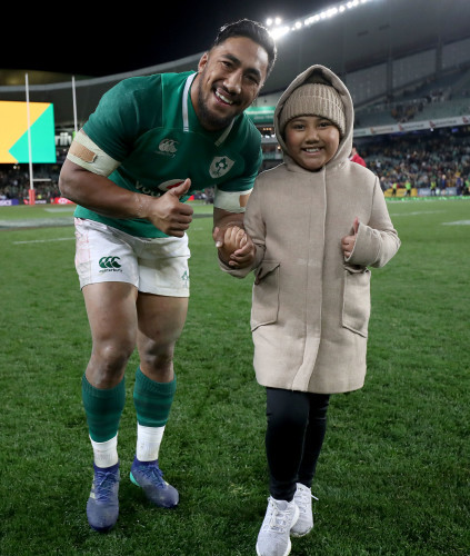 Bundee Aki with his daughter Adrianna after the game