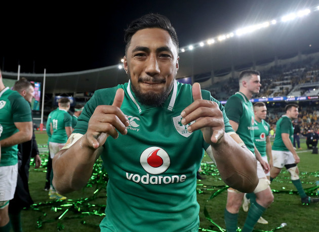 Bundee Aki celebrates after the game