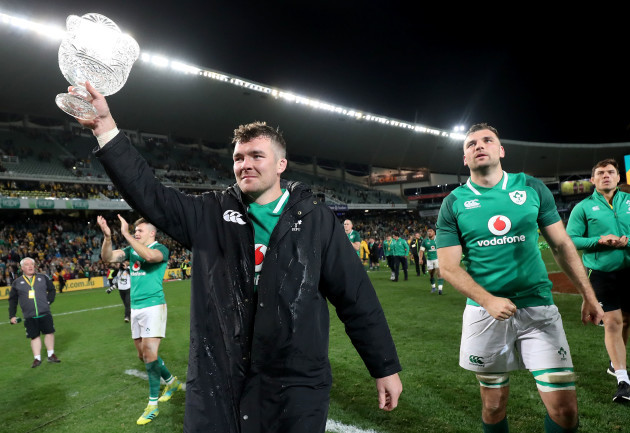 Peter O'Mahony and Tadhg Beirne celebrate with the Lansdowne Cup after the game
