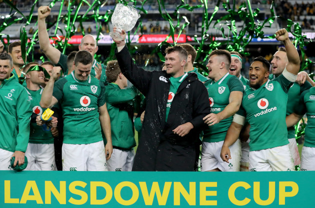 Peter O'Mahony lifts the Lansdowne Cup