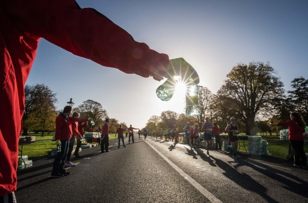 Stewards hand out water bottles in The Phoenix Park