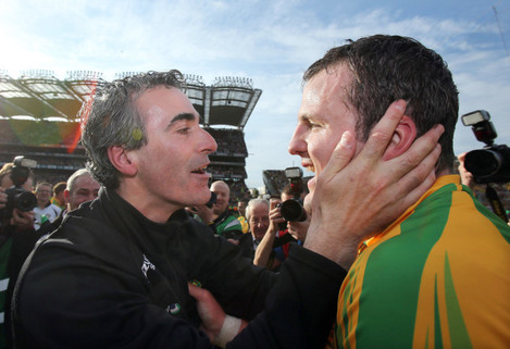 Jim McGuinness and Michael Murphy celebrate