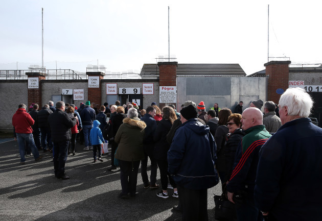 Kildare and Mayo fans waiting for the gates to open